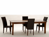 "Provence 90"" Dining Table With 4 Janus Leather Chairs"